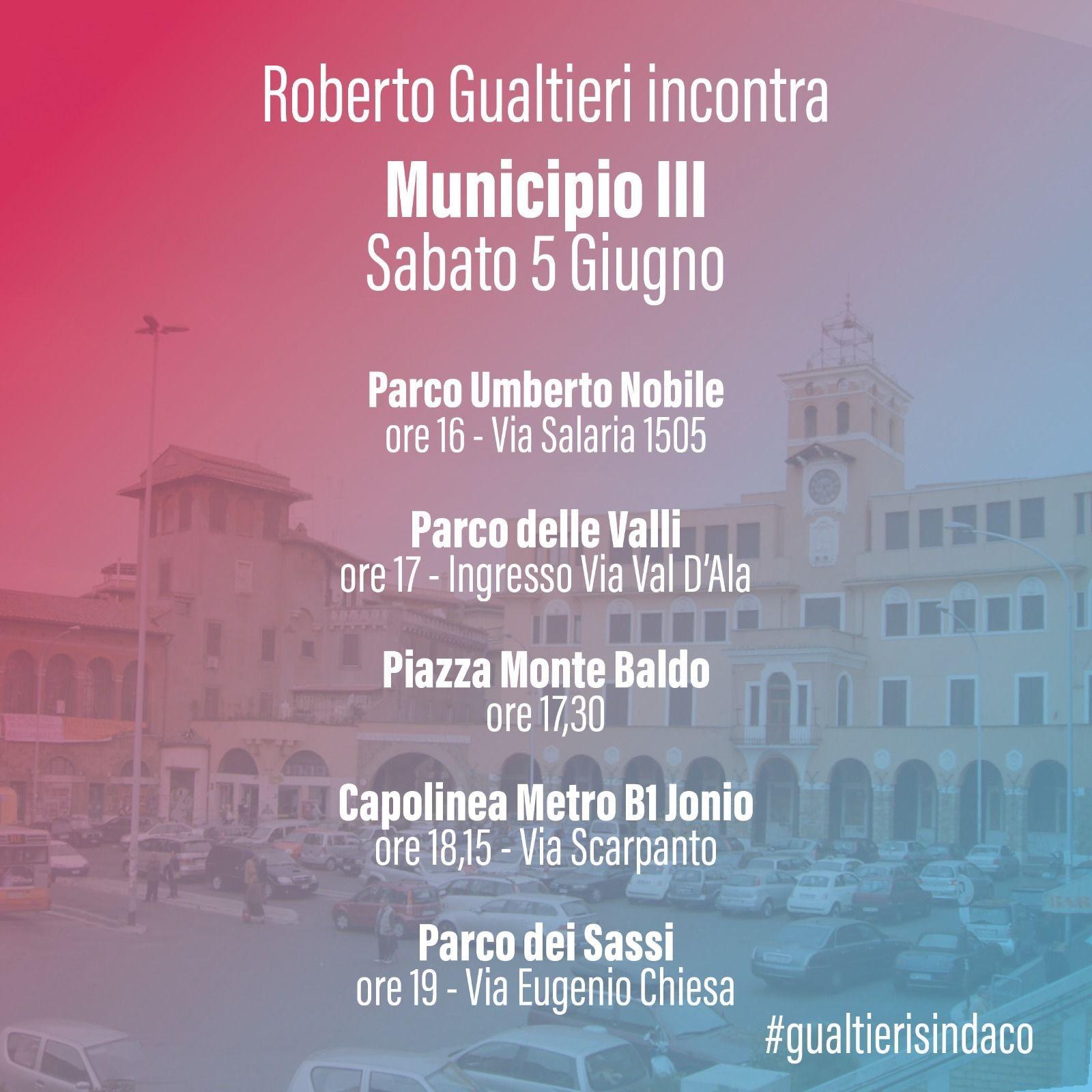Read more about the article Sabato 5 giugno Roberto Gualtieri in III Municipio